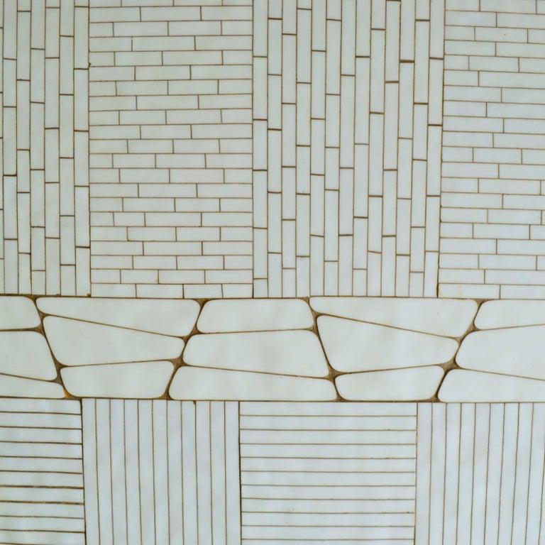 Mid-Century Modern Rectangular White Mosaic Coffee Table on Chrome Legs For Sale
