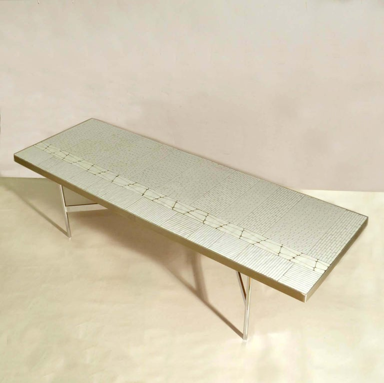 Mid-20th Century Rectangular White Mosaic Coffee Table on Chrome Legs For Sale