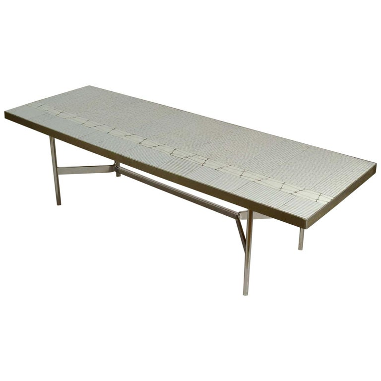 Rectangular White Mosaic Coffee Table on Chrome Legs For Sale