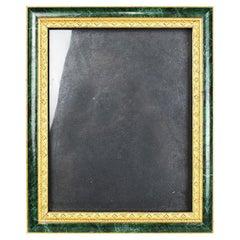 Rectangular Wood Malachite and Gold Photo Frame