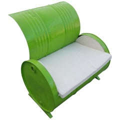 Recycled 55 Gallon Barrel Armchair, Lime Green
