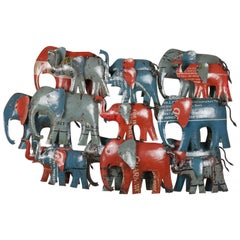 Recycled Metal Wall Art of Herd of Elephants, 20th Century