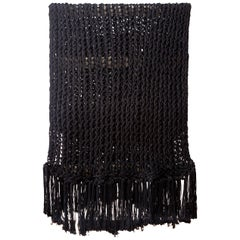 Recycled Open Weave Cotton Throw with Fringe, in Black, in Stock