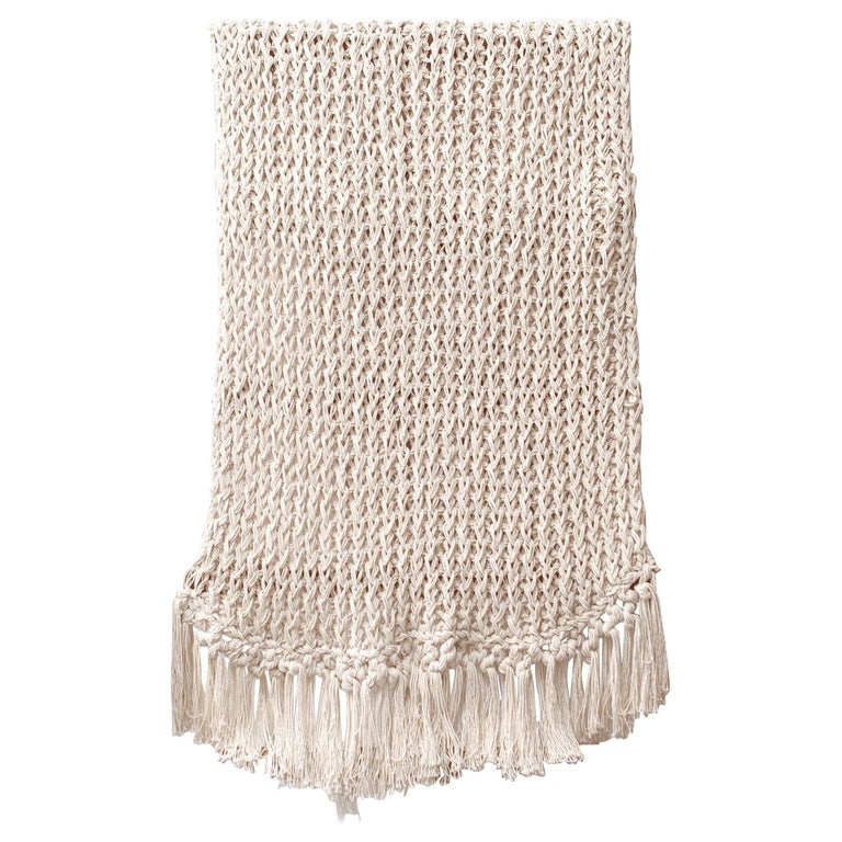 Recycled Open Weave Cotton Throw With Fringe In Natural In Stock For Sale At 1stdibs