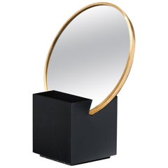 Recycled Rubber and Brass Vanity Mirror with Black Cube Base by Slash Objects