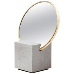 Recycled Rubber and Brass Vanity Mirror with Gray Cube Base by Slash Objects