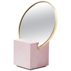 Recycled Rubber and Brass Vanity Mirror with Pink Cube Base by Slash Objects