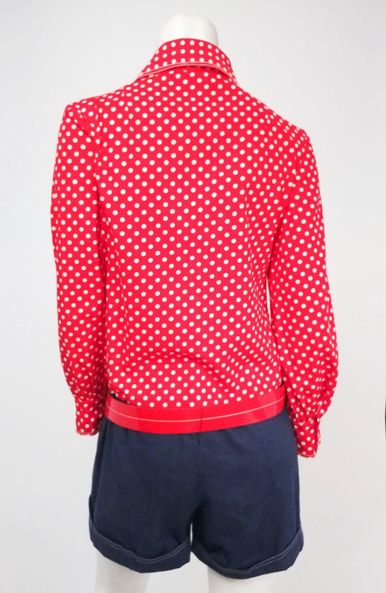 Red, White, & Blue Polka Dot Romper, 1960s. Adorable 1960s romper with red and white polka dot bodice, blue shorts, and matching red belt with white contrast stitching (not original). Buttons up front, wide collar.