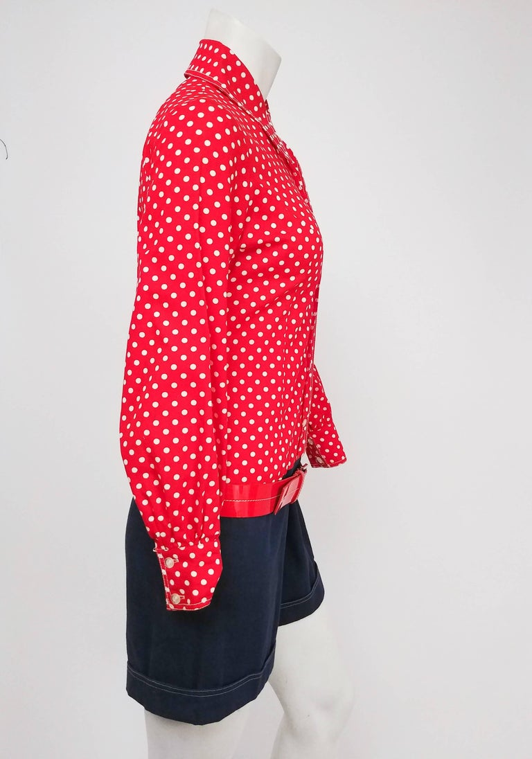 Red, White, & Blue Polka Dot Romper, 1960s In Good Condition For Sale In San Francisco, CA