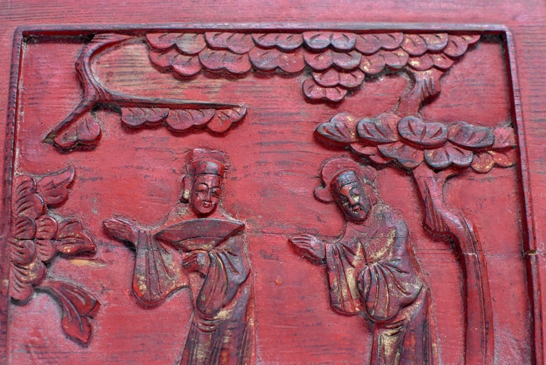 Red 19th Century Carved Panel, Official Friends For Sale 4
