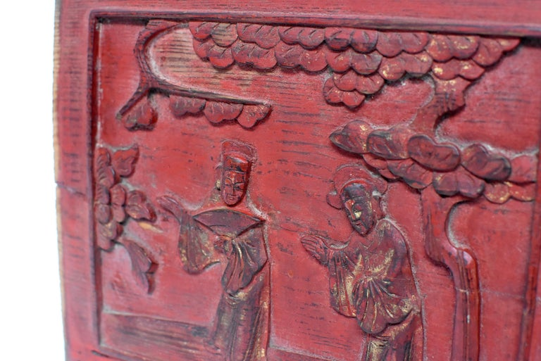 Red 19th Century Carved Panel, Official Friends For Sale 5
