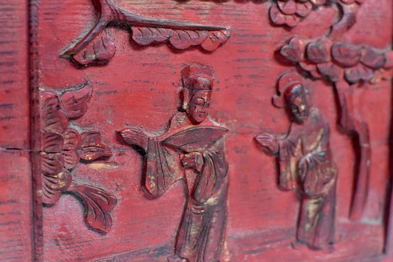 Red 19th Century Carved Panel, Official Friends For Sale 6