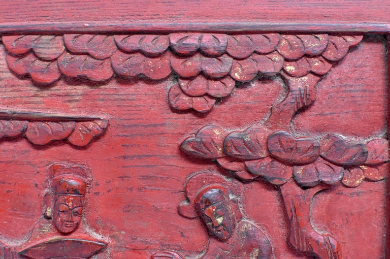 Chinese Red 19th Century Carved Panel, Official Friends For Sale