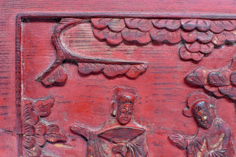 Hand-Painted Red 19th Century Carved Panel, Official Friends For Sale