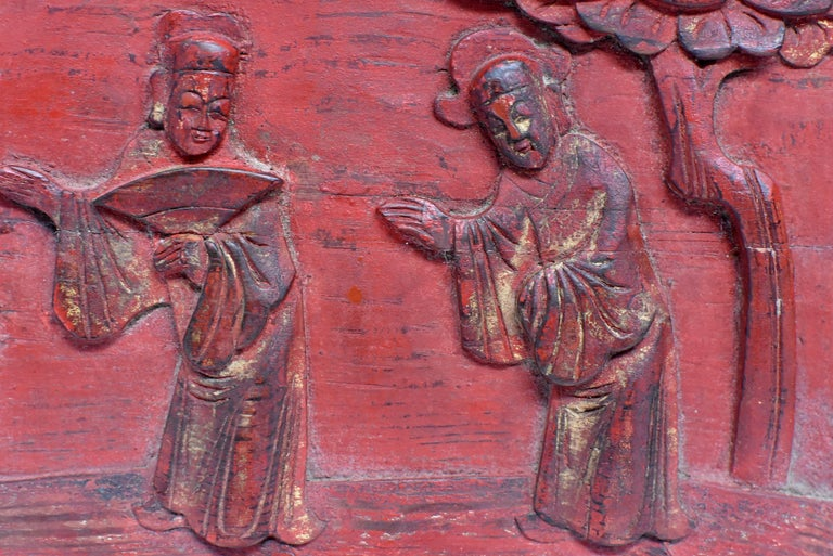 Red 19th Century Carved Panel, Official Friends In Good Condition For Sale In Somis, CA
