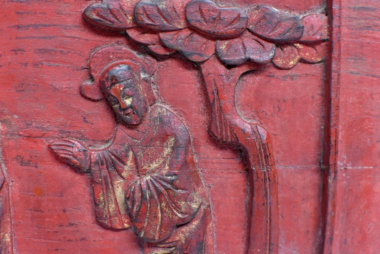 Wood Red 19th Century Carved Panel, Official Friends For Sale