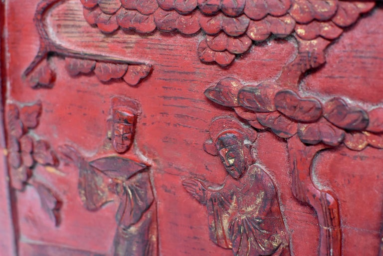 Red 19th Century Carved Panel, Official Friends For Sale 1