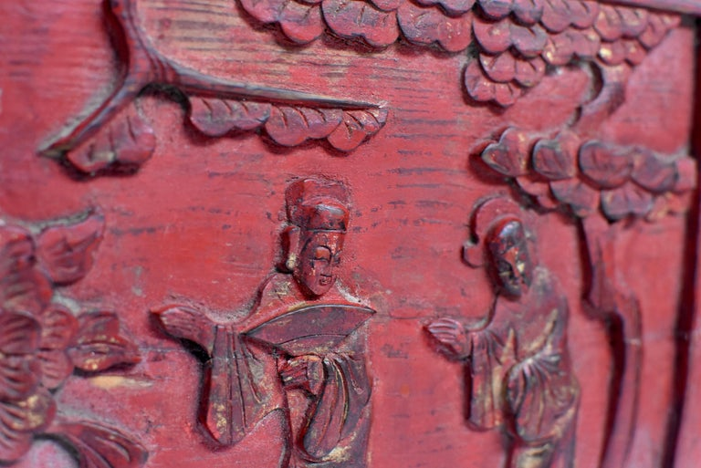 Red 19th Century Carved Panel, Official Friends For Sale 2