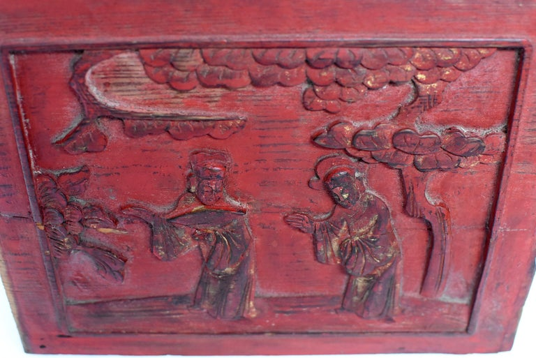 Red 19th Century Carved Panel, Official Friends For Sale 3