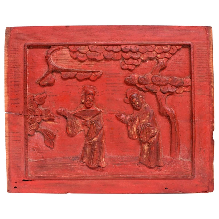 Red 19th Century Carved Panel, Official Friends For Sale