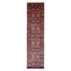 Red Afghan Ersari Geometric Design Pure Wool Wide XL Runner Hand Knotted Orienta