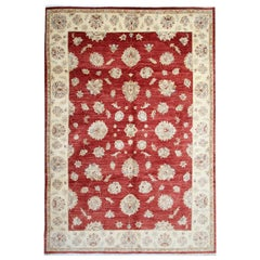 Red Afghan Oriental Rugs Floral Wool Rugs, Suitable as Living Room Rugs