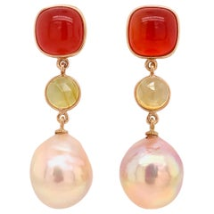 Red Agate Yellow Sapphire and Natural Pink Pearls Rose Gold Chandelier Earrings