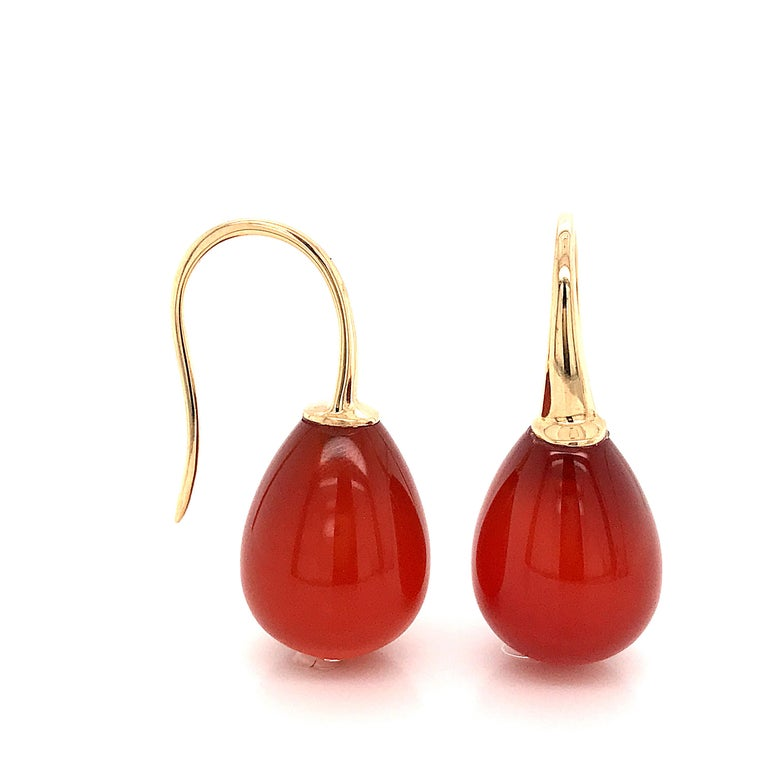 Red Agathe and Yellow Gold Drop Earrings Hydro Red Agathe  Yellow Gold 18K weight 2 grams