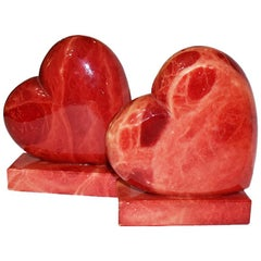 Red Alabaster Stone Heart Bookends Made in Italy circa 1950s a Pair