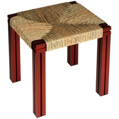 Red Aluminium Stool with Reel Rush Seating from Anodised Wicker Collection