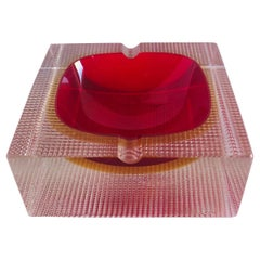 Red and Amber Murano Ashtray by Mandruzzato