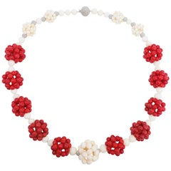 Red and Angel Skin Coral Bead Custom Cluster Necklace 14 Karat White Gold Clasp