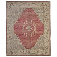 Red and Beige Antique Handmade Wool Distressed over Size Turkish Oushak Rug