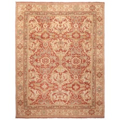 Red and Beige Wool Rug with Green Floral Accents