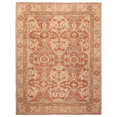 Red and Beige Wool Rug with Green Floral Accents Ottoman Design