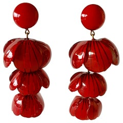 Red and Black Architectural Statement Earrings