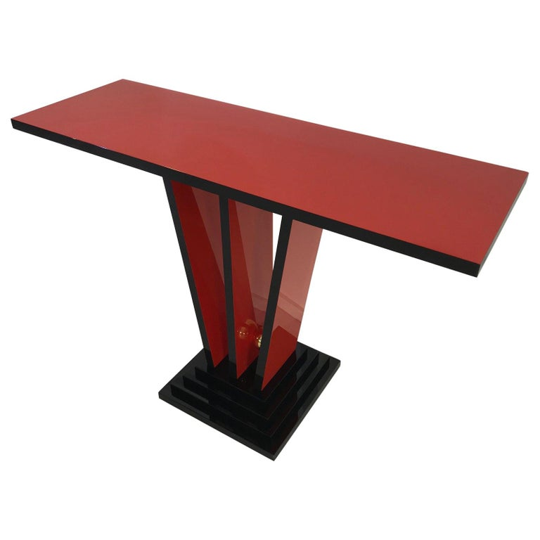 Red and Black Art Deco Design Console Table
