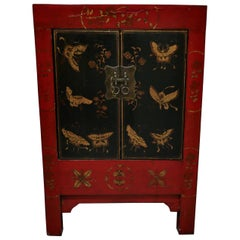Red and Black Chinoiserie Lacquer Cupboard Decorated with Butterflies