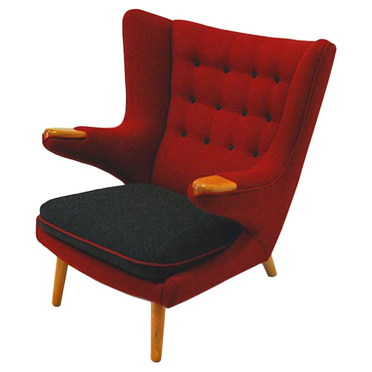 Comfortable Scandinavian Red and Black Wingback Armchair 1950s