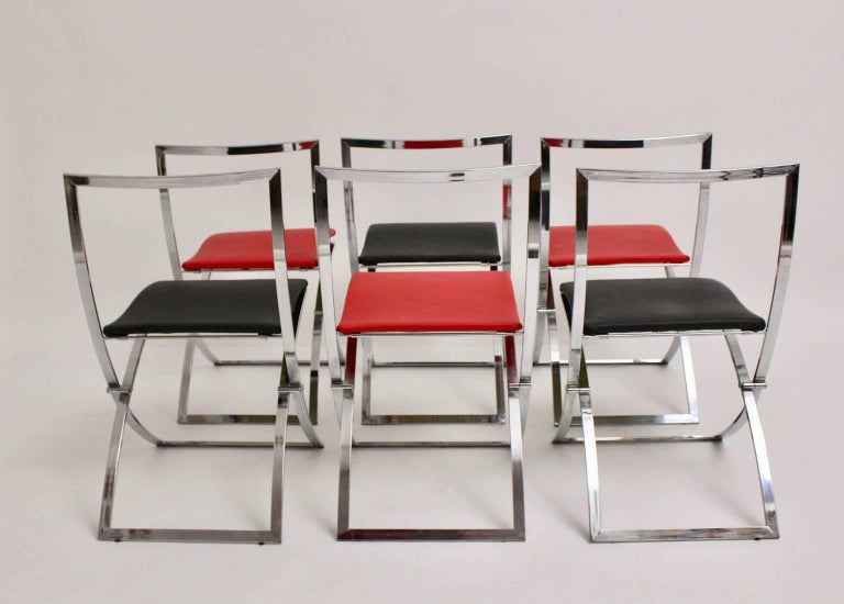 Red and Black Folding Dining Chairs Luisa by Marcello Cuneo, 1970, Italy For Sale 2