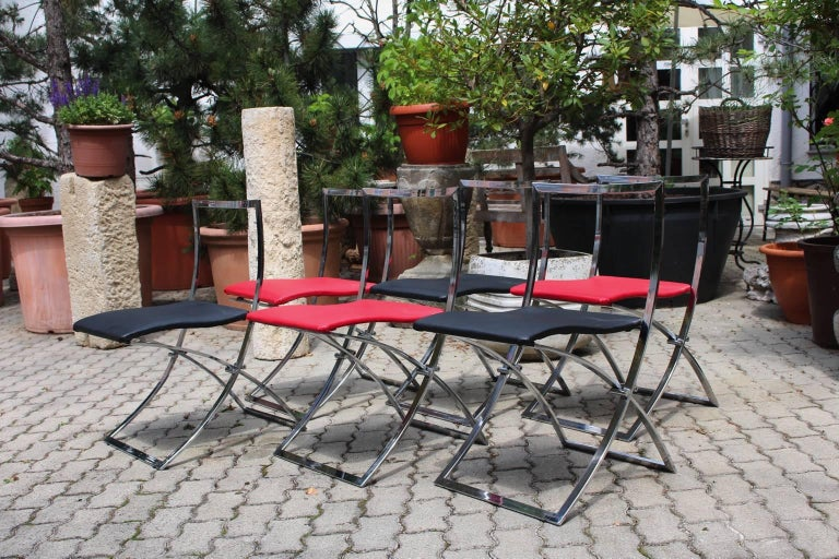 Red and Black Folding Dining Chairs Luisa by Marcello Cuneo, 1970, Italy For Sale 3