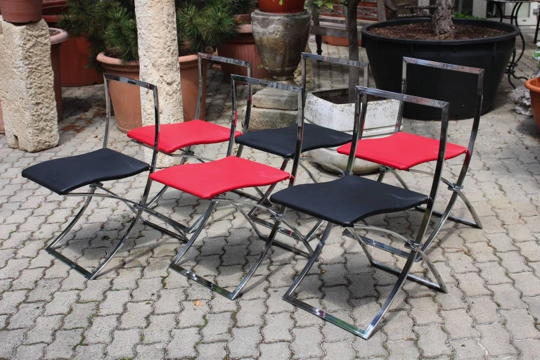 Red and Black Folding Dining Chairs Luisa by Marcello Cuneo, 1970, Italy For Sale 4