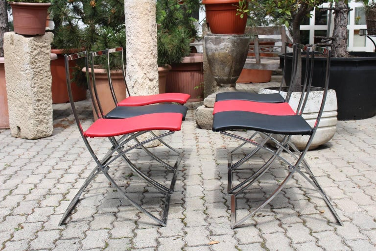 Red and Black Folding Dining Chairs Luisa by Marcello Cuneo, 1970, Italy For Sale 5