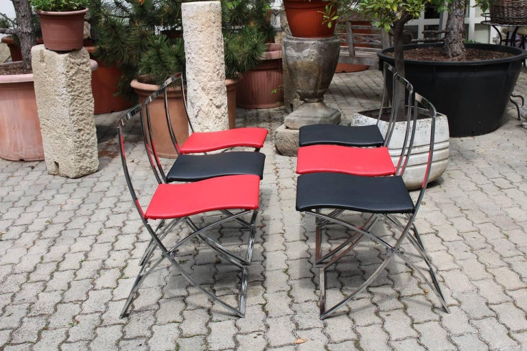 Red and Black Folding Dining Chairs Luisa by Marcello Cuneo, 1970, Italy For Sale 6