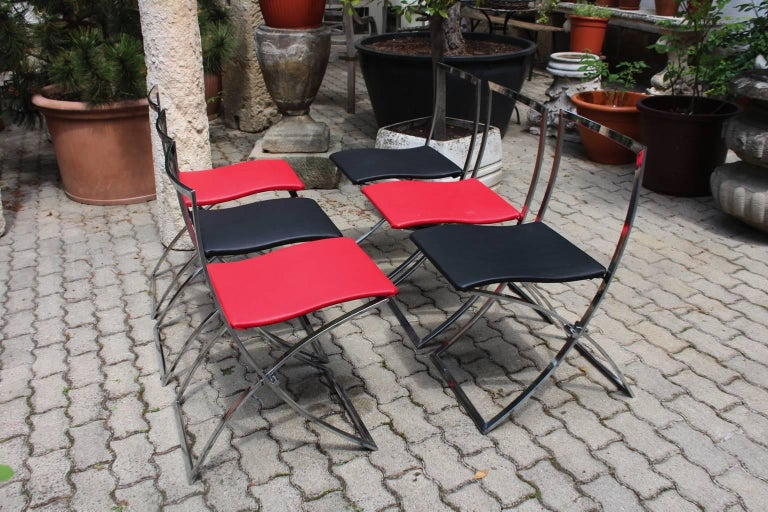 Red and Black Folding Dining Chairs Luisa by Marcello Cuneo, 1970, Italy For Sale 7