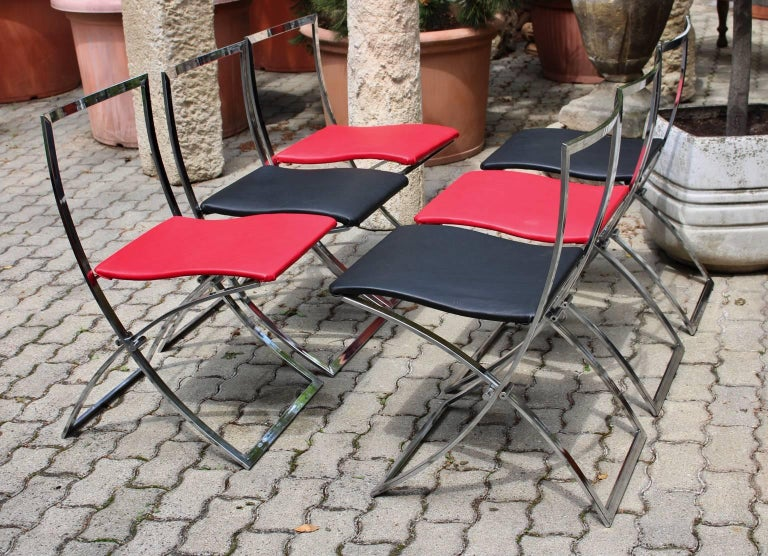 Red and Black Folding Dining Chairs Luisa by Marcello Cuneo, 1970, Italy For Sale 8
