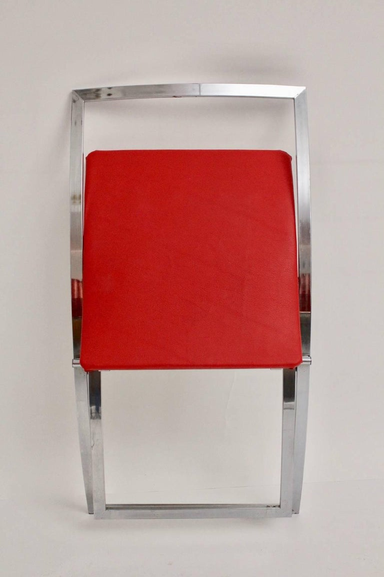 Red and Black Folding Dining Chairs Luisa by Marcello Cuneo, 1970, Italy For Sale 10