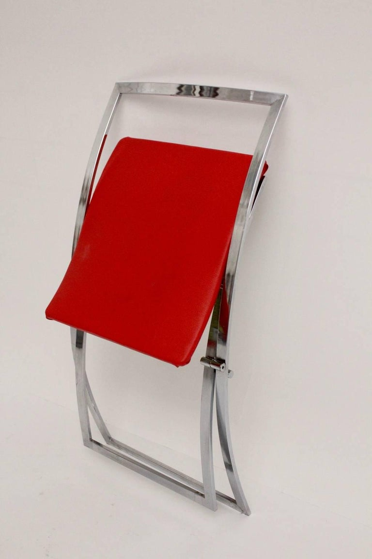 Red and Black Folding Dining Chairs Luisa by Marcello Cuneo, 1970, Italy For Sale 11