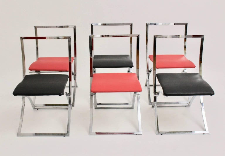 Mid-Century Modern Red and Black Folding Dining Chairs Luisa by Marcello Cuneo, 1970, Italy For Sale