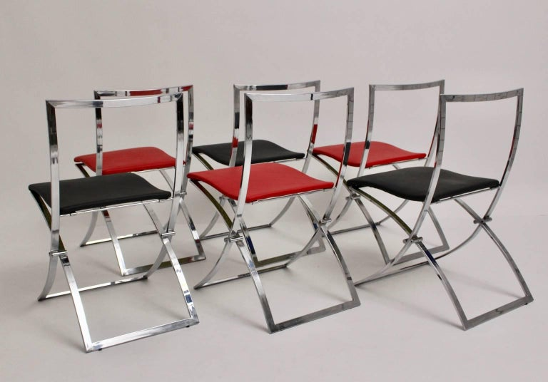 Italian Red and Black Folding Dining Chairs Luisa by Marcello Cuneo, 1970, Italy For Sale